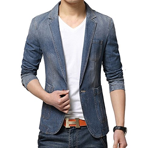 (メイク トゥ ビー) Make 2 Be メンズ デニム テーラード ジャケット アイテム テラジャケ + 便利 アイテム 携帯 靴べら MA01 (ブルー Lサイズ)