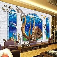Wuyyii 壁紙壁画カスタムリビングルームの寝室3D水中世界タコローマンコラム壁画家の装飾 - 350×250センチ