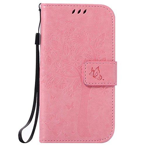 Galaxy S4 ケース CUSKING 手帳型ケース PUレザー カードポケット全面保護 フリップ カバー 落下防止 衝撃吸収 財布型 ギャラクシ S4 対応 - ピンク
