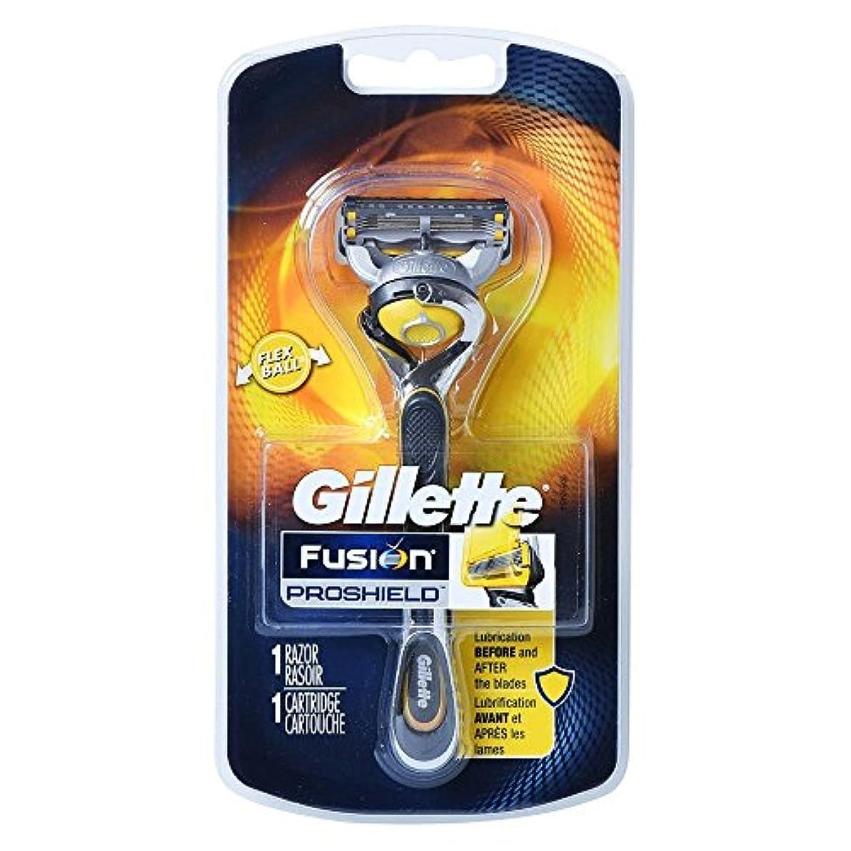 キャロライン交通渋滞火傷Gillette Fusion Proshield Yellow フレックスボール剃刀でメンズカミソリ Refrills 1 [並行輸入品]