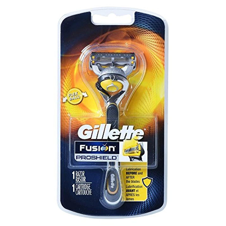 飛行場力強いシプリーGillette Fusion Proshield Yellow フレックスボール剃刀でメンズカミソリ Refrills 1 [並行輸入品]
