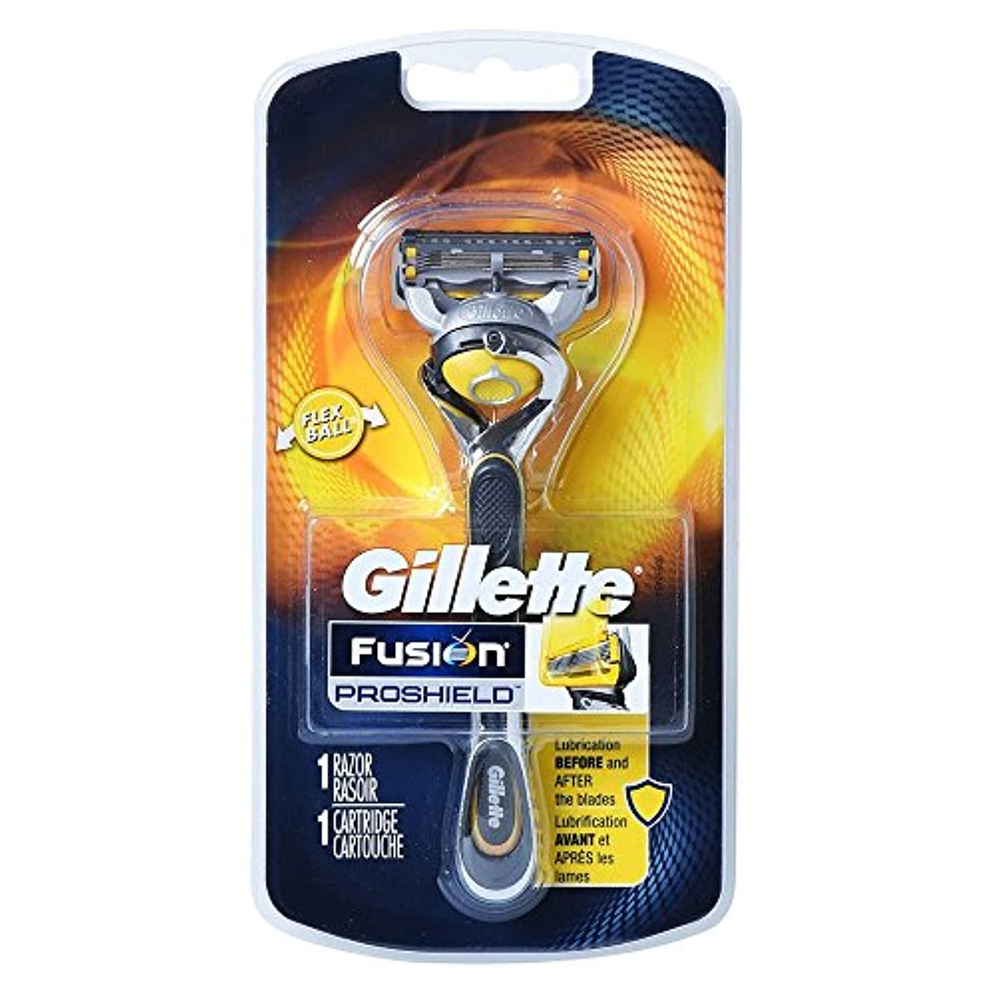 取り出すがんばり続けるに向けて出発Gillette Fusion Proshield Yellow フレックスボール剃刀でメンズカミソリ Refrills 1 [並行輸入品]