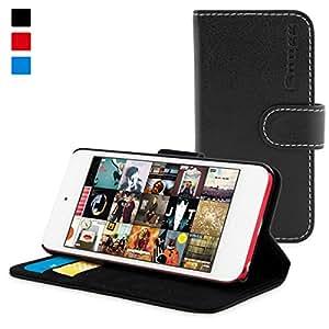英国Snugg社 iPod Touch (第5世代/第6世代) 用 手帳型 PUレザーケース - 生涯補償付き (ブラック)