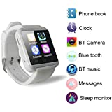 YUNTAB(JP) Bluetooth smart watch U8 スマート ウォッチ 1.44インチ 超薄型フルタッチ ウォッチ着信お知らせ/置き忘れ防止/歩数計/アラーム時計 pedometer with calories White