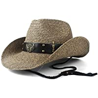 HNNH-Hat Women Men Hollow Western Cowboy Hat Lady Dad Beach Sombrero Hombre Chaff Panama Cowgirl Jazz Sun Cap Sizing 56-58CM