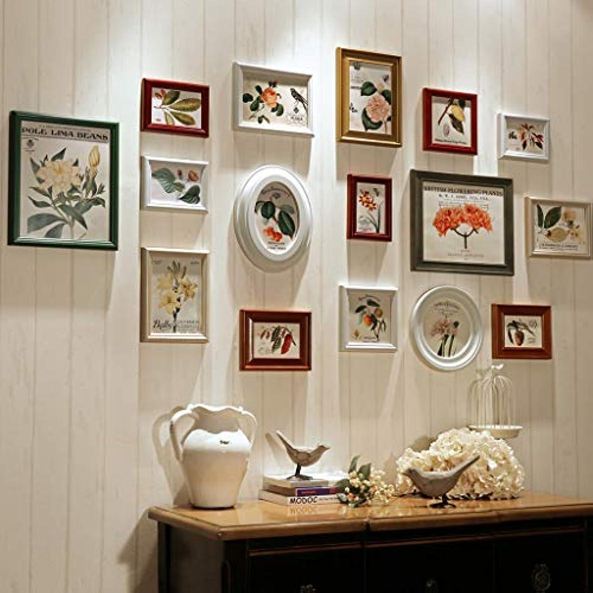 嘆願直接時計回りヴィンテージウッドの壁写真フォトフレームコラージュセット用16写真家族の家複数の大きなギャラリーフレーム用リビングルームの装飾