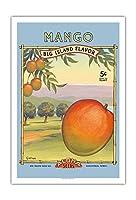 """マンゴー -""""アロハ""""種子 - ビッグアイランドシードカンパニー - ビッグアイランドフレーバー - ヴィンテージシードパケット によって作成された カーン・エリクソン - アートポスター - 76cm x 112cm"""