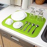 QLIBO 食器 水切りマット キッチン用 吸水 速乾 抗菌素材 大判サイズ 41㎝×46㎝【全9色】(ライトグリーン)