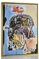 Berkin Arts フレーム入りジャン・ミシェル・バスクヤット ジークレー キャンバスプリント 絵画 ポスター 複製(ヘッド)