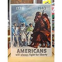 アメリカンブリキ看板 アメリカ人-自由のために戦う-