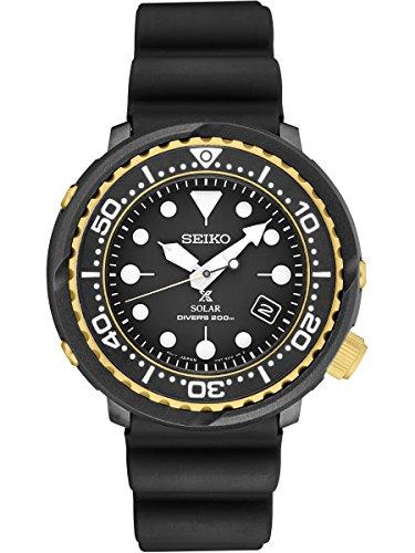 Seiko Prospex Solar Dive Watch withブラックシリコンストラップ200?M sne498