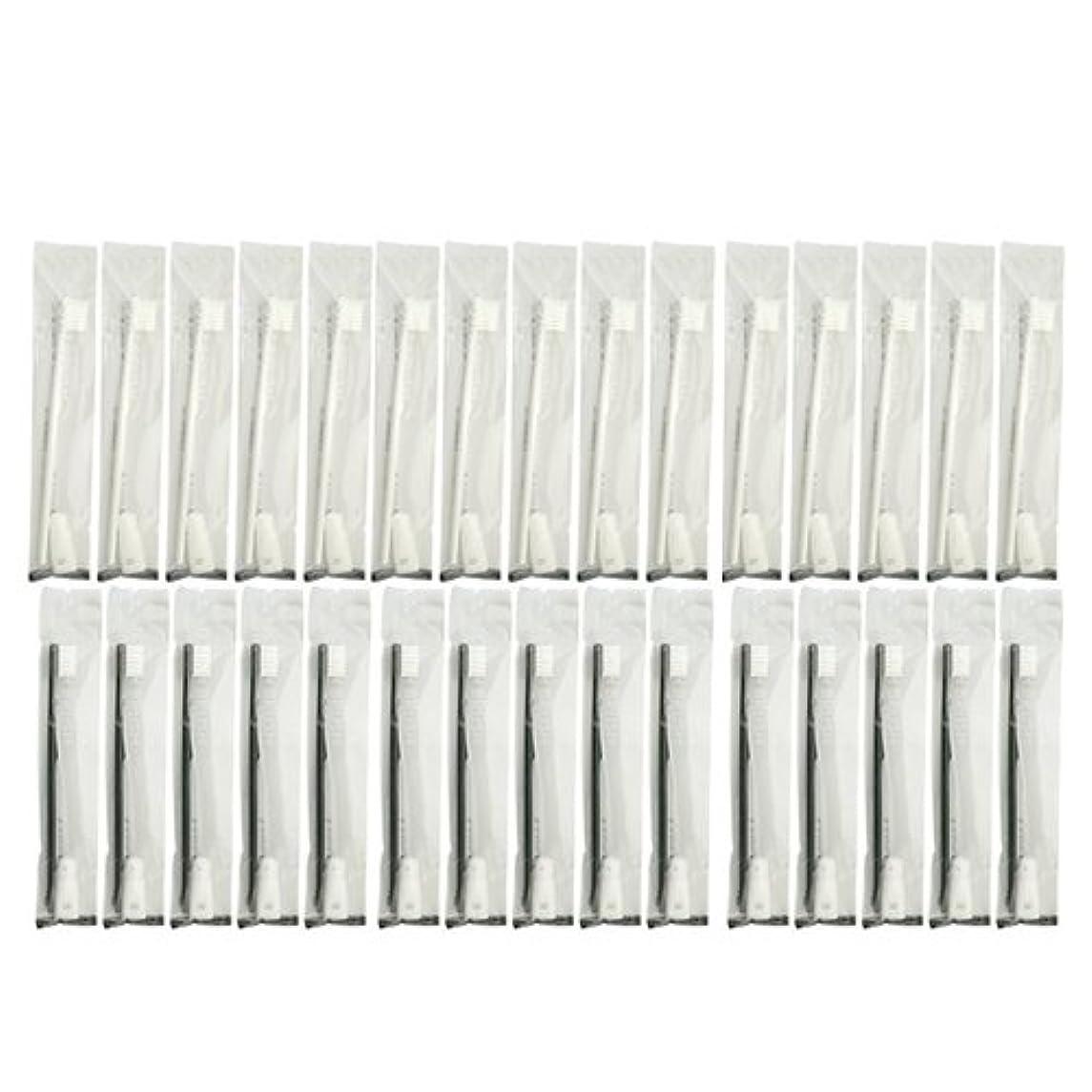 電報動機セメント業務用 使い捨て歯ブラシ チューブ歯磨き粉(3g)付き アソート 30本 (ブラック15本/ホワイト15本)セット│ホテルアメニティ 個包装タイプ