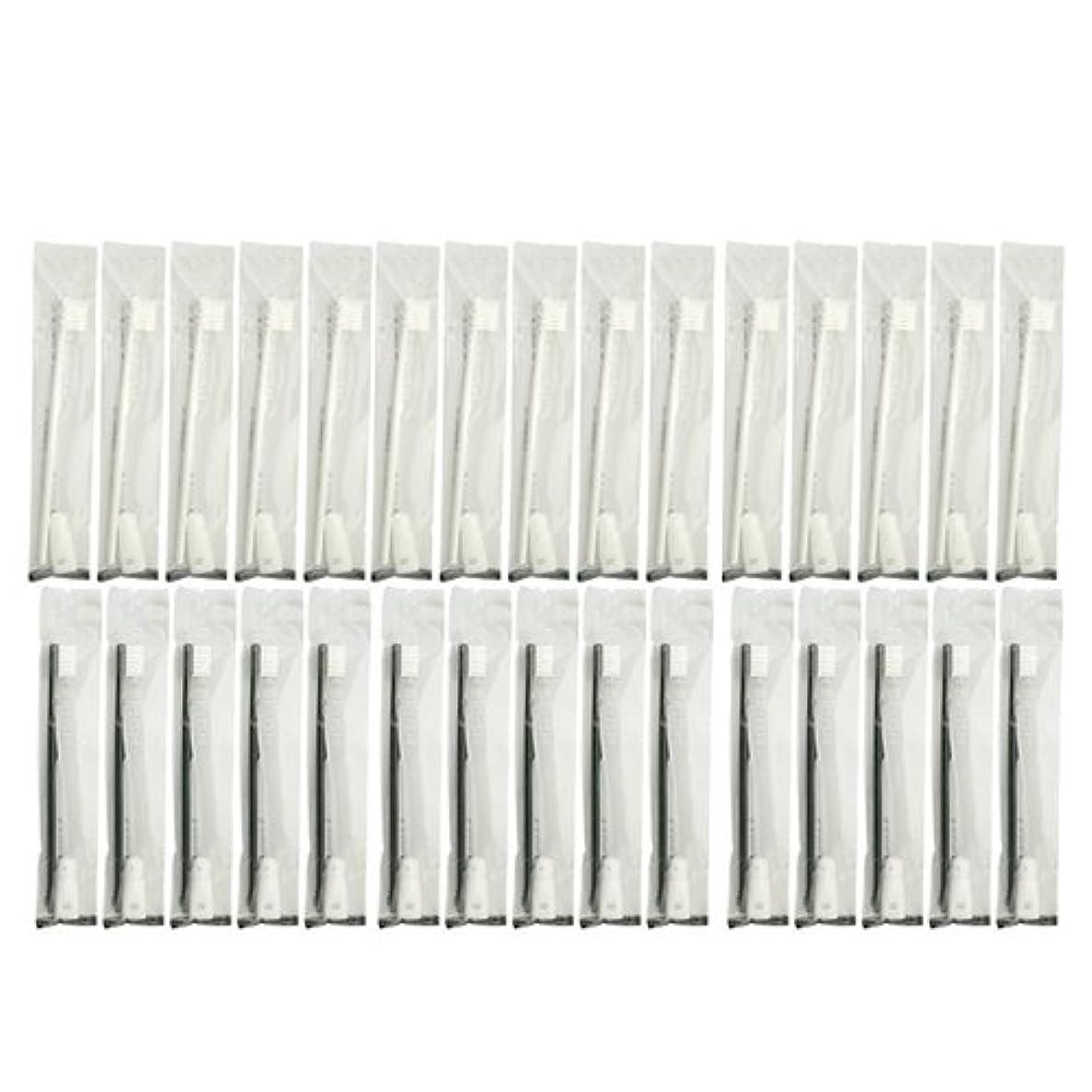 決めます特徴づけるロマンス業務用 使い捨て歯ブラシ チューブ歯磨き粉(3g)付き アソート 30本 (ブラック15本/ホワイト15本)セット│ホテルアメニティ 個包装タイプ