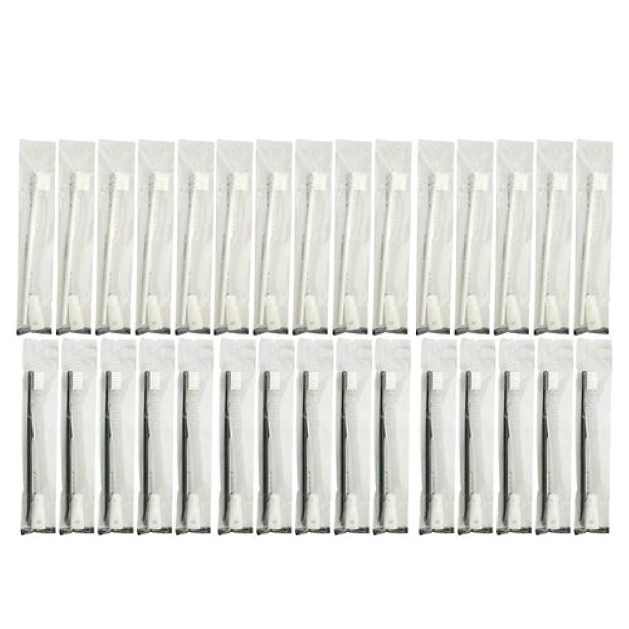 ドルマット経営者業務用 使い捨て歯ブラシ チューブ歯磨き粉(3g)付き アソート 30本 (ブラック15本/ホワイト15本)セット│ホテルアメニティ 個包装タイプ