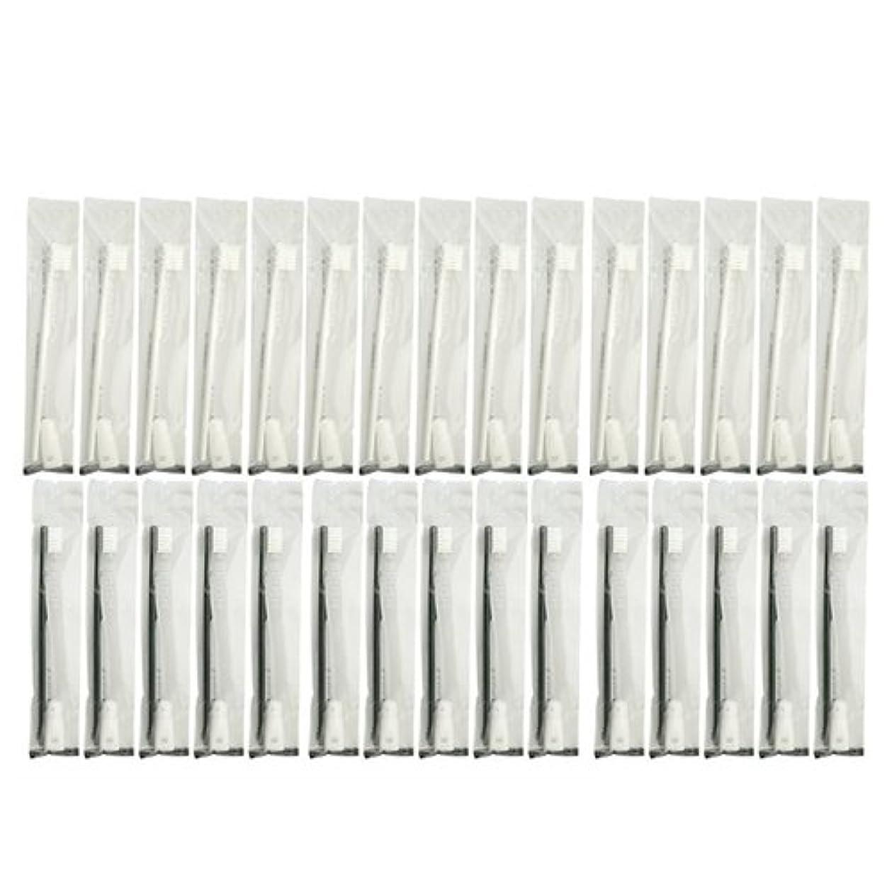 振る環境保護主義者約設定業務用 使い捨て歯ブラシ チューブ歯磨き粉(3g)付き アソート 30本 (ブラック15本/ホワイト15本)セット│ホテルアメニティ 個包装タイプ