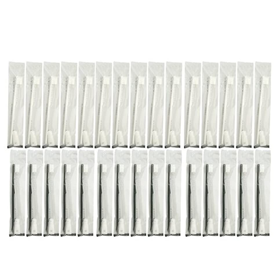 男やもめアサー上陸業務用 使い捨て歯ブラシ チューブ歯磨き粉(3g)付き アソート 40本 (ブラック20本/ホワイト20本)セット│ホテルアメニティ 個包装タイプ