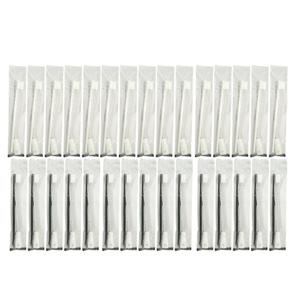 カビ操縦するチューリップ業務用 使い捨て歯ブラシ チューブ歯磨き粉(3g)付き アソート 40本 (ブラック20本/ホワイト20本)セット│ホテルアメニティ 個包装タイプ