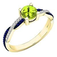 10Kイエローゴールドラウンド宝石用原石&ダイヤモンドレディースSwirl Splitシャンク婚約リング