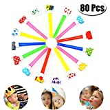 PartyYeah 80 Pcs 4.3Inch Funny Party Blowouts Blowers-Noisemakers Whistles for New Year Party Birthday Random Colors Multicolored Funny Party Supplies [並行輸入品]