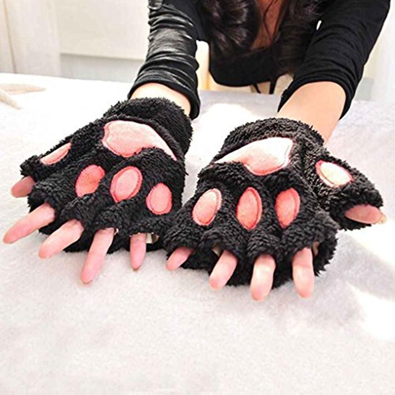 地下鉄民族主義キャッシュArichtop レディースガールズ冬のかわいい漫画の動物の爪のハーフフィンガーグローブミトン