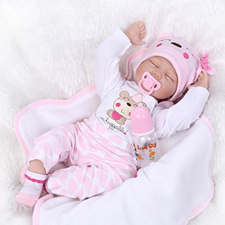 Nicery 人形 Babyリボーンベビードールソフトシリコンビニール22インチの55センチメートル磁気口リアルな少年少女のおもちゃピンクホワイトアイズ閉じる Reborn Dolls JP
