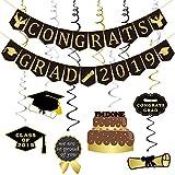 Congrats Grad 2019 バナーと吊り下げ渦巻きキット - 組み立て式 卒業パーティー用品 2019 卒業バナー ブラックとゴールド 卒業式デコレーション 高校 プロム 大学卒業 Lサイズ