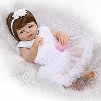 Rebornベビー人形、Ncol Lifelikeリアルな新生児幼児人形withホワイトチュチュスカート、22インチ57 cmシリコンビニールフルボディ解剖学的に正しいToys