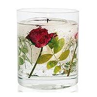 ハーバリウム キャンドルホルダー STONEGLOW ガラス プリザーブドフラワー ジェル アロマキャンドルスタンド (レッドローズ)