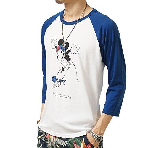 (ジーアールエヌ) grn ミッキーマウス ロゴ ラグラン Tシャツ disney logo 7分袖 正規品 Uネック ホワイトxブルー:3(L)