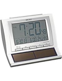 セイコー クロック 目覚まし時計 ハイブリッドソーラー 電波 デジタル カレンダー 温度 湿度 表示 白 パール SQ751W SEIKO