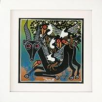 ティンガティンガアート 『黒ガゼルとアフリカの鳥』 by ジミムス Sサイズ 額付き(白枠) No.1531