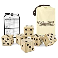"""(Set of 2.5"""" Dice) - GoSports Giant Wooden Playing Dice Set with Bonus Rollzee Scoreboard - Includes 6 Dice, Dry-Erase Scoreboard and Canvas Carrying Bag (Choose 6.4cm Dice or 8.9cm Dice)"""