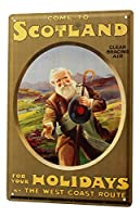 Tin Sign ブリキ看板 Decoration Holiday Travel Agency Scotland Shepherd Metal Wall