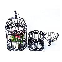 2つの錬鉄の装飾的な鳥かご、ウィンドウ表示鳥かごの花スタンド、結婚式の小道具クリスマスの休日の装飾