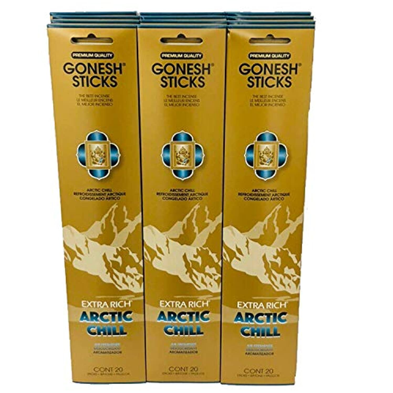 分類ノベルティすり減るGonesh – 12 ARCTIC CHILL PACK ( 240 Sticks ) Incense Sticks Extra Richコレクション