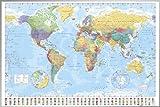 ポスター 世界地図+アルミフレーム(シルバー) セット GN-0214S