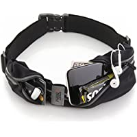 Sport2People Unisex-Adult Waist Bag for Running Waterproof Waist Pack Pouch Belt USA Patented, Black, One Size