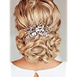 Aukmla Wedding Hair Combs with Bead and Rhinestones Bridal Hair Accessories for Women and Girls (Silver Color)