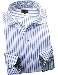 RSD146-003 (スタイルワークス) メンズ長袖ワイシャツ カッタウェイ ワイドカラー ストライプ | 青