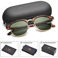 LUENX Men Clubmaster Polarized Sunglasses Women UV 400 Protection Grey Green Lens Tortoise Retro Classic Frame 51MM ,by LUENX with Case …