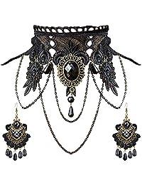 Aniwon Punk Wedding Party Black Lace Choker Beads Chain Pendant Necklace Earring Bracelet for Women