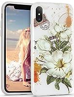 IMIKOKO iPhone X ケース iPhone Xs ケース 花柄 TPU 衝撃吸収 スリム かわいい スマホ カバー (アイフォンX/XS, 柄7)