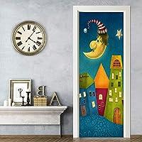 Mingld 3D漫画城子供部屋壁画壁紙Pvc環境に優しい自己接着ドアステッカーDiyの家の装飾-150X120Cm