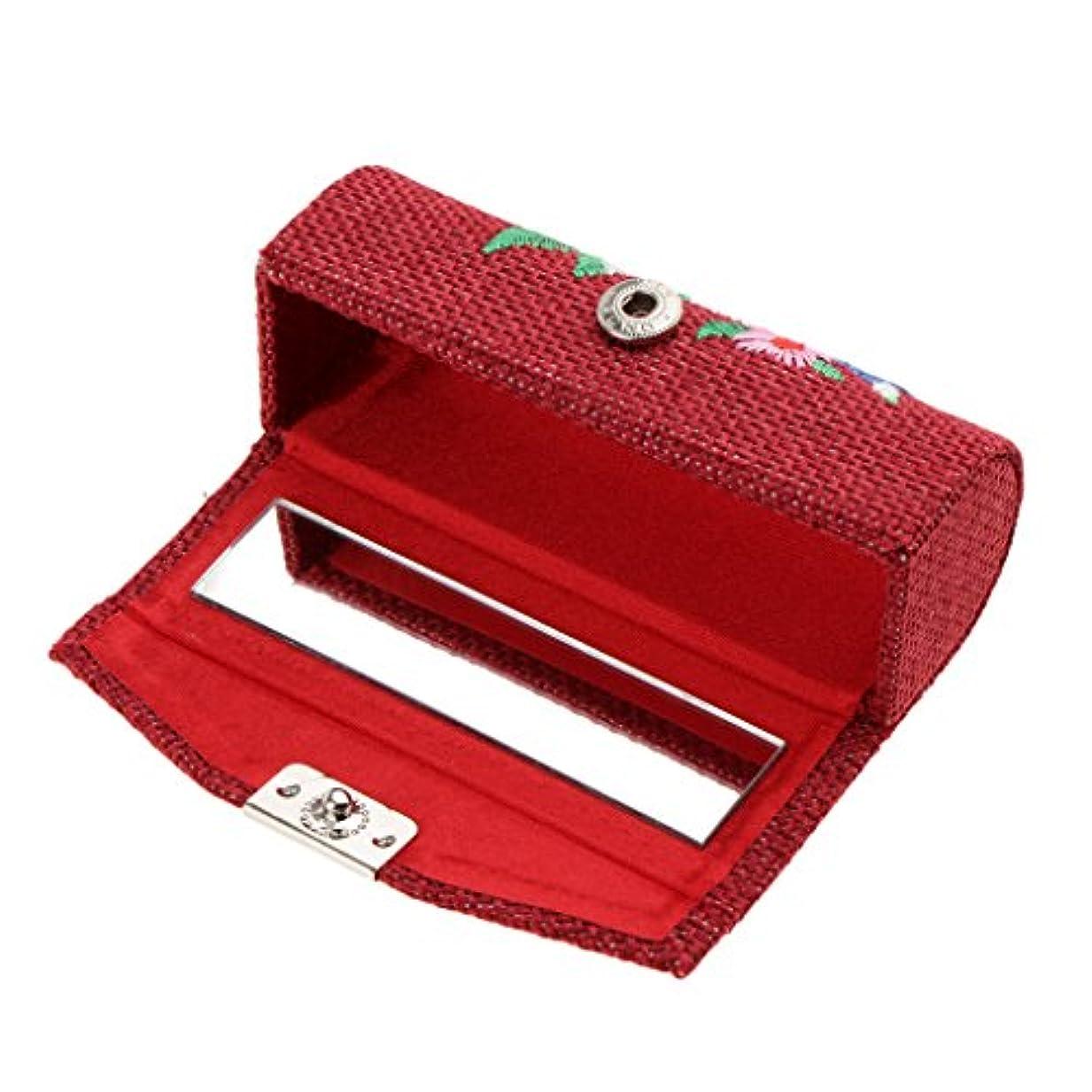 Perfk 化粧ポーチ 口紅ホルダー リップグロス 収納ケース ジュエリー ストレージ メイクアップ ミラー付き 高品質 プレゼント 6色選べる - ワインレッド