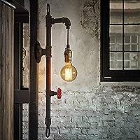 Susuo ブラケットライト 蛇口 レトロ 照明器具 水道管 ウォールランプ アンティーク調 北欧 おしゃれ かっこいい E26口金 LED対応 壁掛け 居間照明 おしゃれ インテリア ダイニング 食卓 リビング 居間 室内 電球無し ブラック (レトロ風おしゃれブラケットライト(1灯))