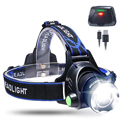 ヘッドライト充電式 LED KINGTOP ヘッドランプ 超強光 LEDズーム調節可能 電池残量LEDが付き 防水 充電式コンパクトヘッドランプ 軽量 防滴 夜間の視認性 安全性 アウトドア/キャンプ/登山/夜釣り/読書/犬の散歩/夜警/夜間パトロールなどに適用