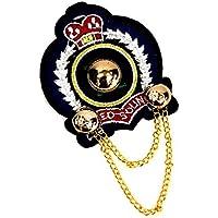 バッジ ワッペン風 刺繍 王冠 チェーン付き c1 エンブレム WP-201