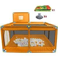バスケットボールフープ/フロアマット付き折りたたみ式ポータブルルームデバイダの子供用ベビープレイヤーブルー/オックスフォード布製のドア/ジップ付き子供用ベビーカー (色 : オレンジ)