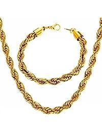 CADENAS DE ORO 18 Kゴールドメッキネックレス&ブレスレットセット