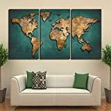 Living Room Flower Wall Decals Prints Paintings Wall Art Framework Fashion Vintage Continent Pictures 3 Pieces World Map Post